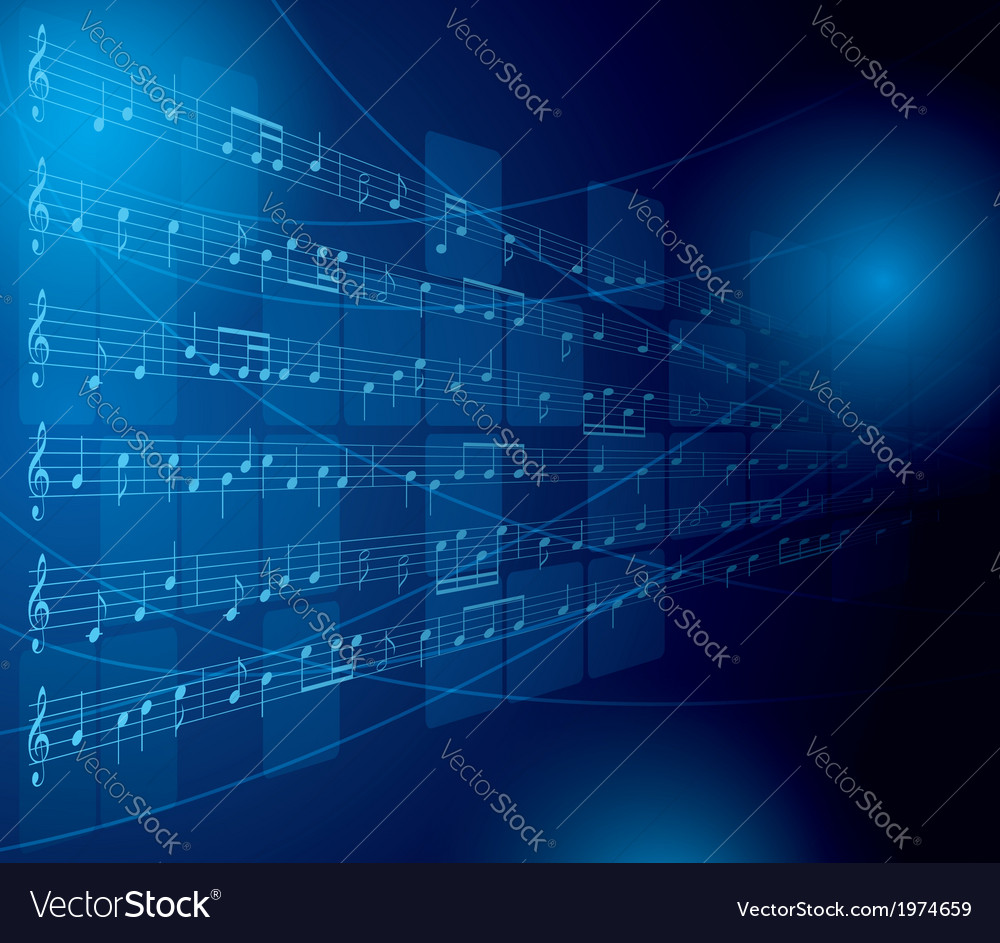 Blue musical background with notes and squares