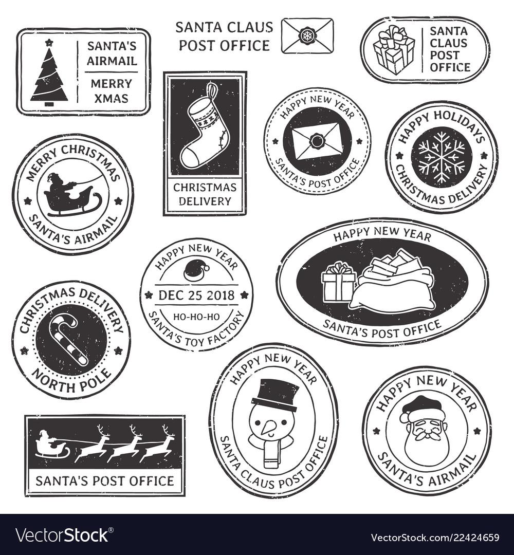 Christmas stamp vintage santa claus postmark