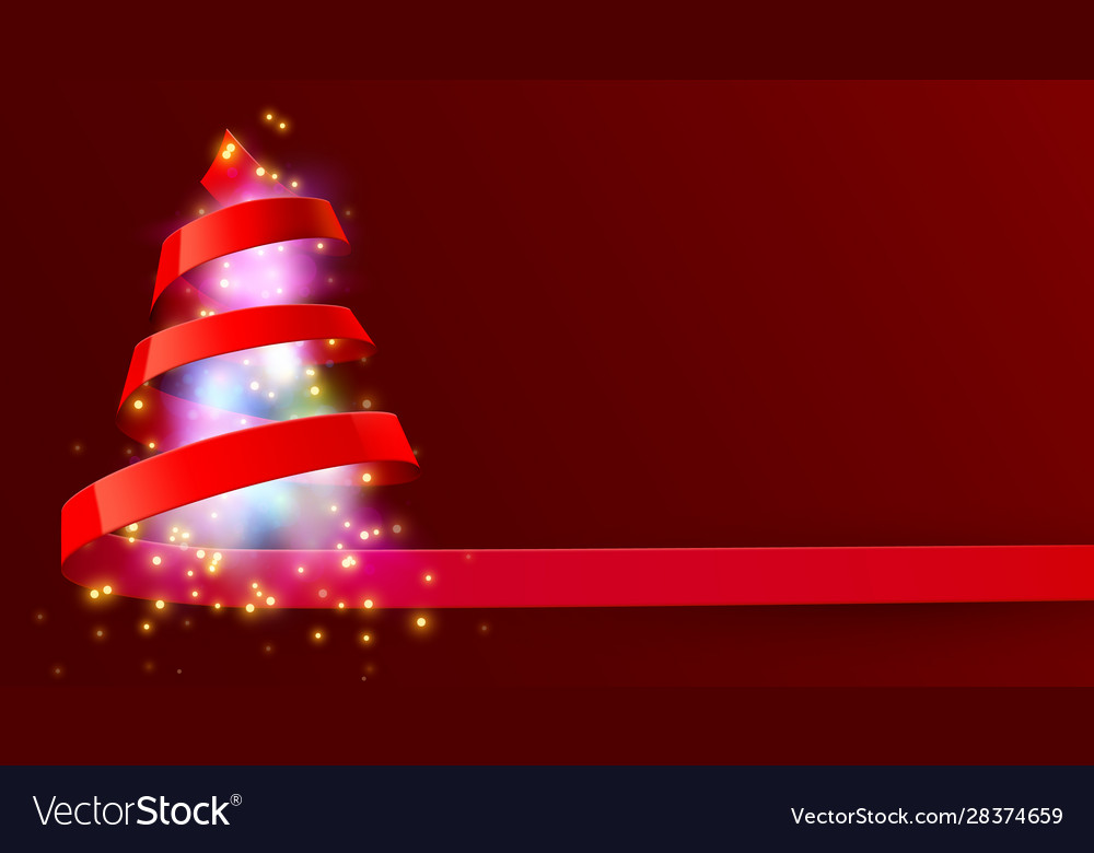 Christmas tree made red ribbon new year and