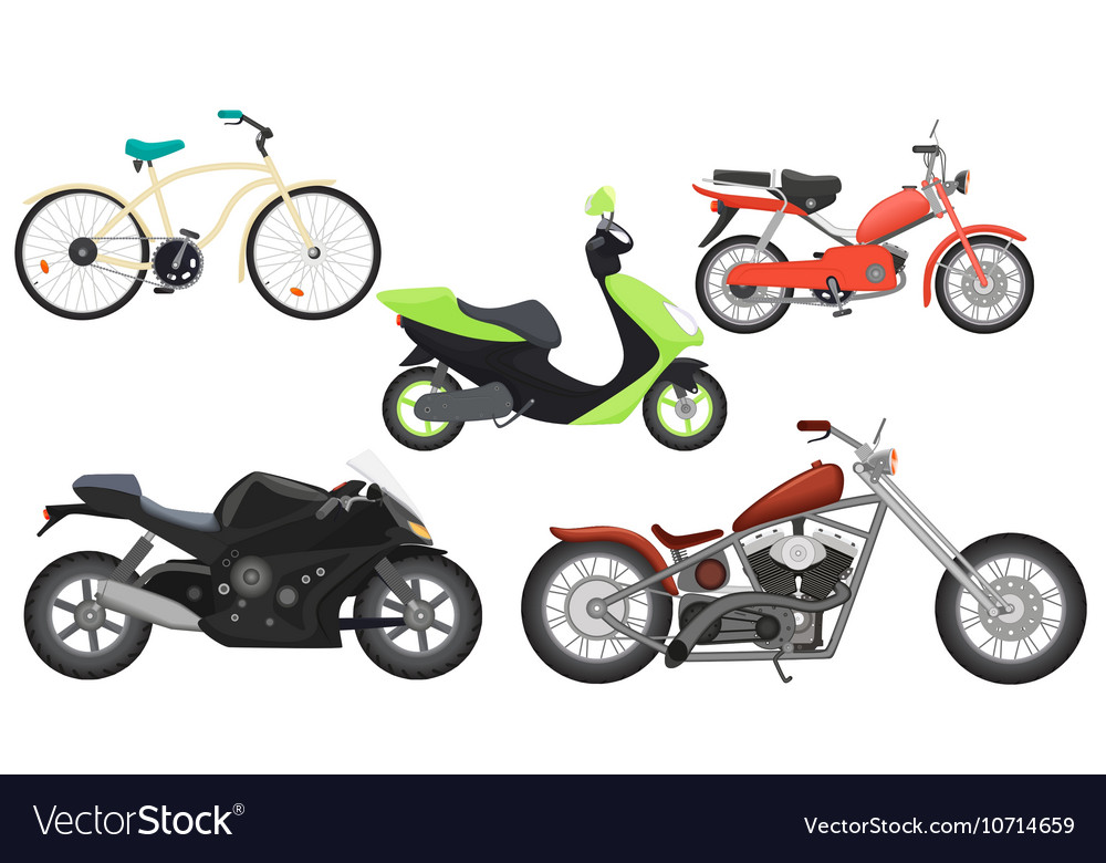 Classic color flat realistic motorcycle moped