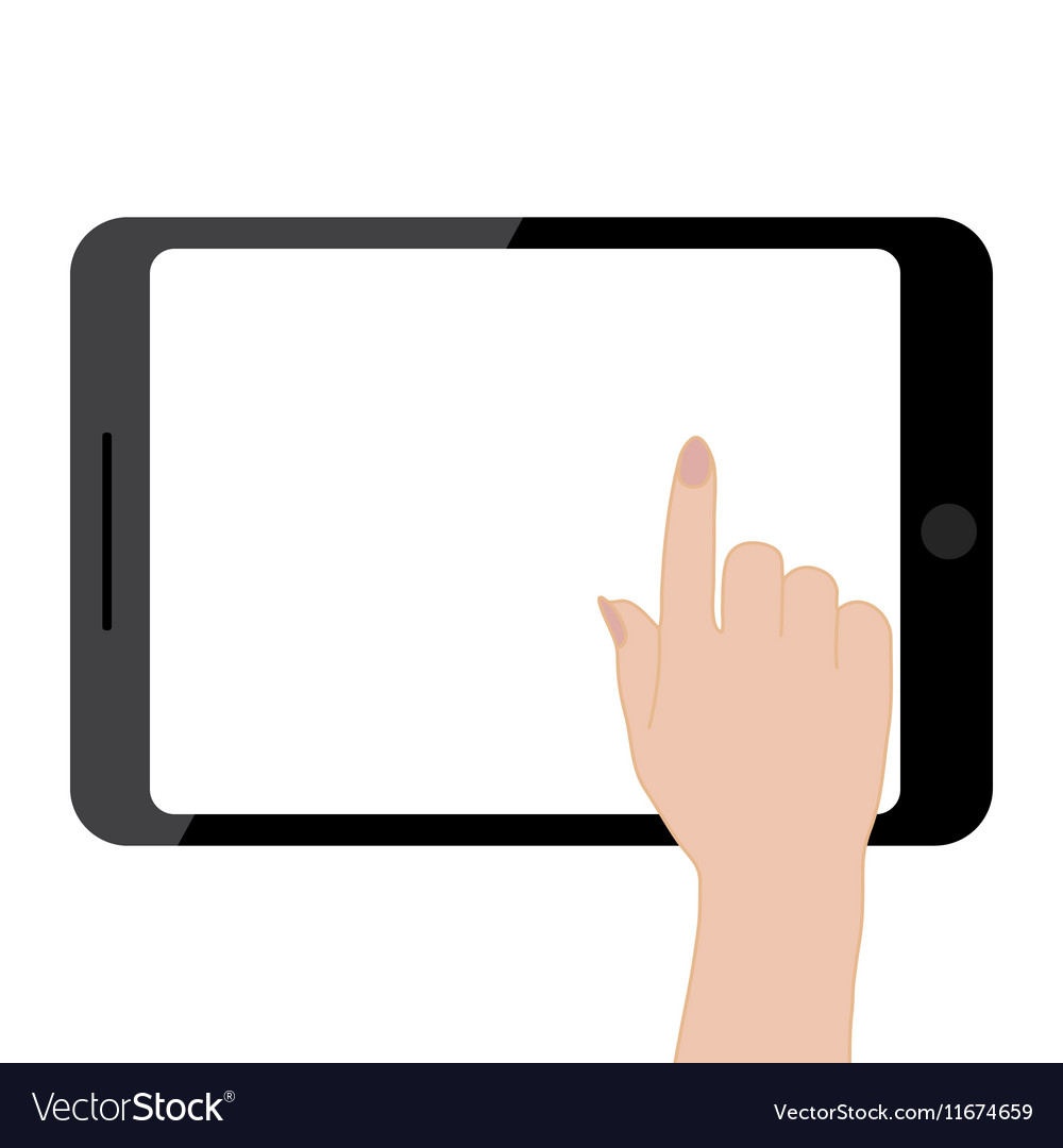 Female hands holding tablet computer touch screen