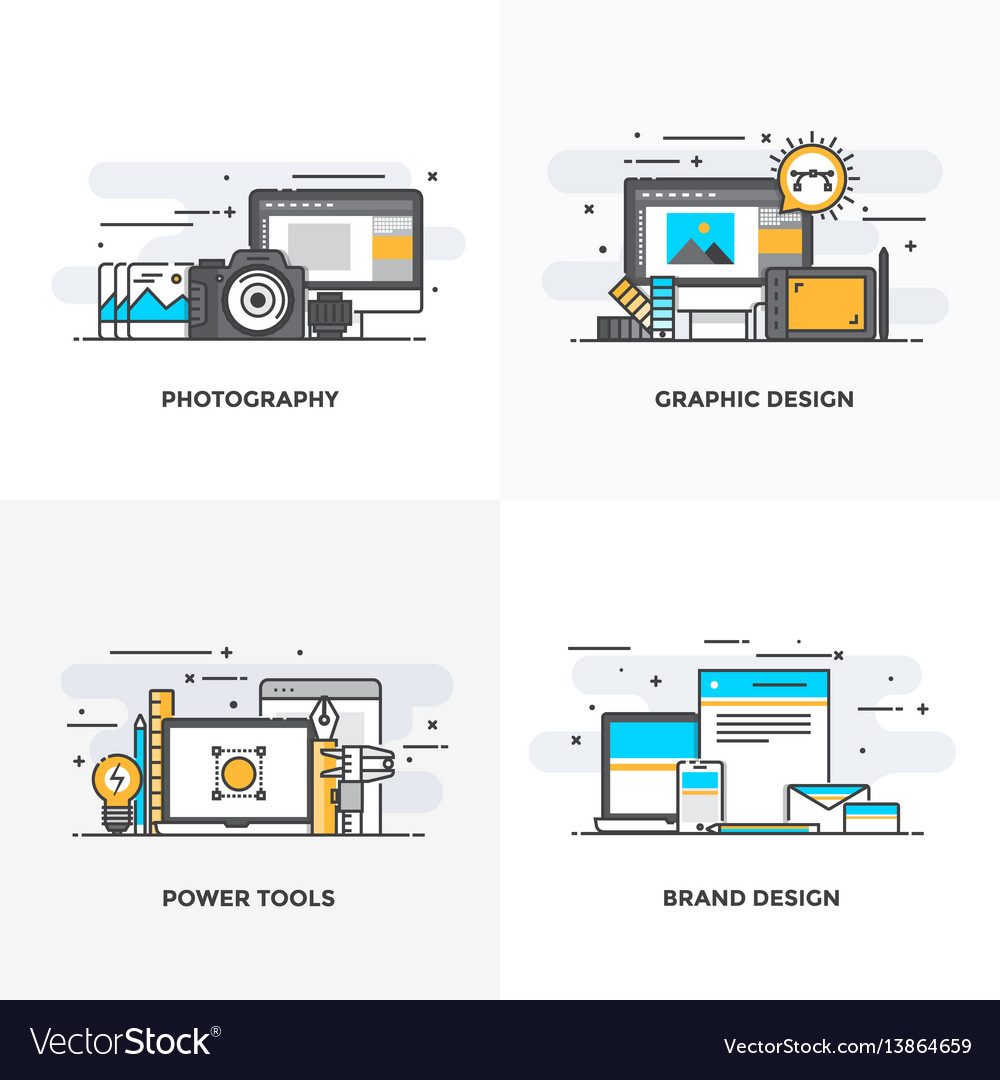 Flat line designed concepts 3-colored vector image