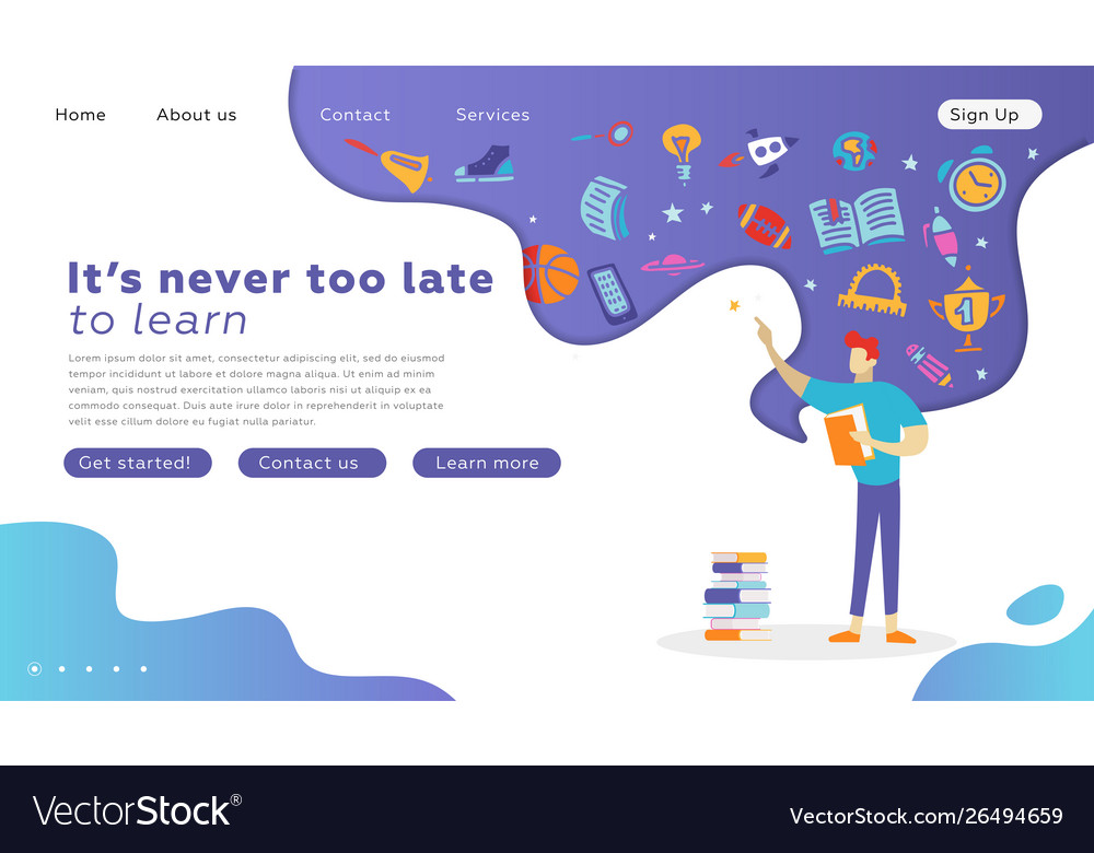 Happy student character with book landing page