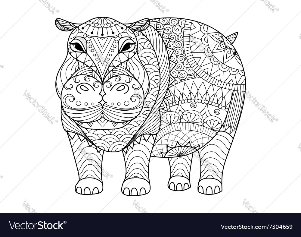 Hippo coloring book Royalty Free Vector Image - VectorStock