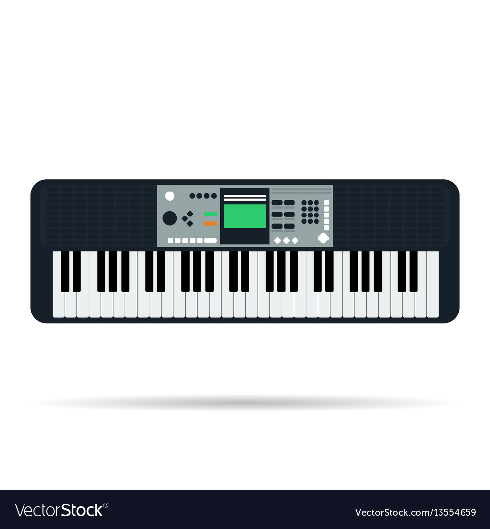 Isolated flat icon of musical keyboards