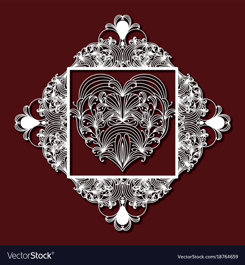 Laser cutting decorative floral diamond with heart