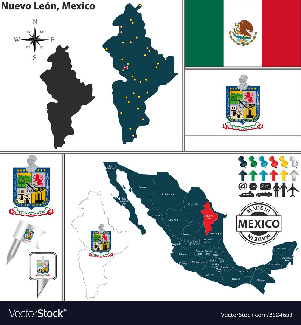 Map Of Nuevo Leon Royalty Free Vector Image Vectorstock