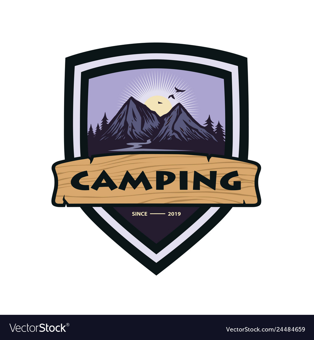 Mountain adventure camping climbing logo template