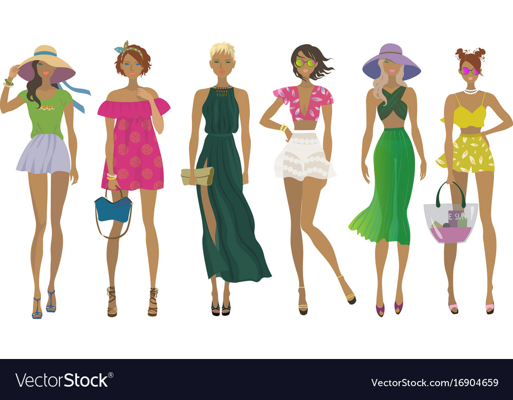 Set of stylish summer girlsfashion models