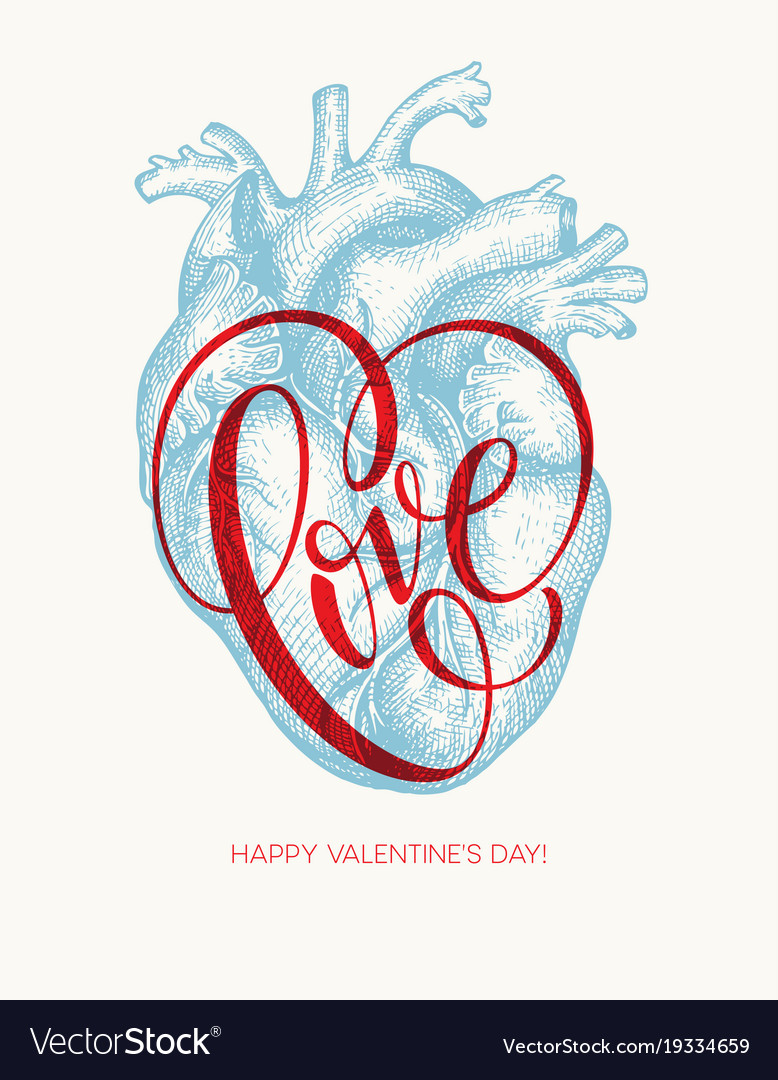 Valentines day card with human heart and love