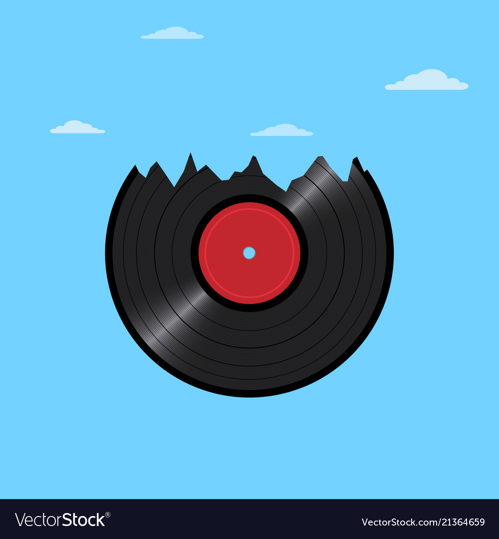 Vinyl disk record in shape mountains with clouds