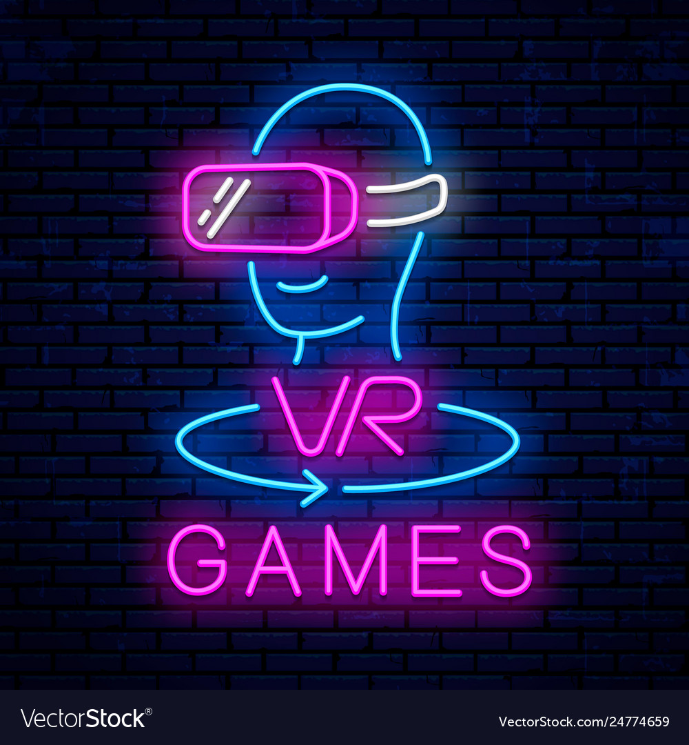 Virtual reality neon sign design