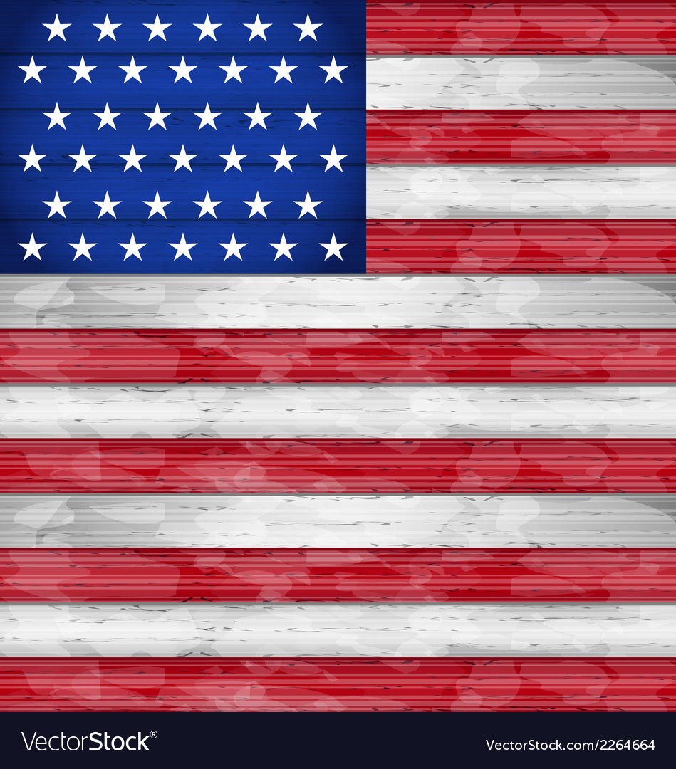 American Flag For Independence Day Wood Texture Vector Image