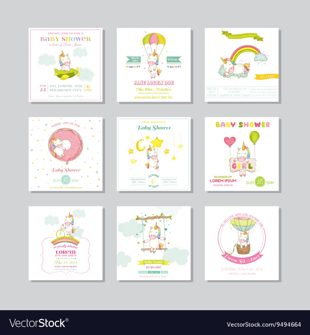 Baby Shower Card Arrival Baby Card Baby Unicorn