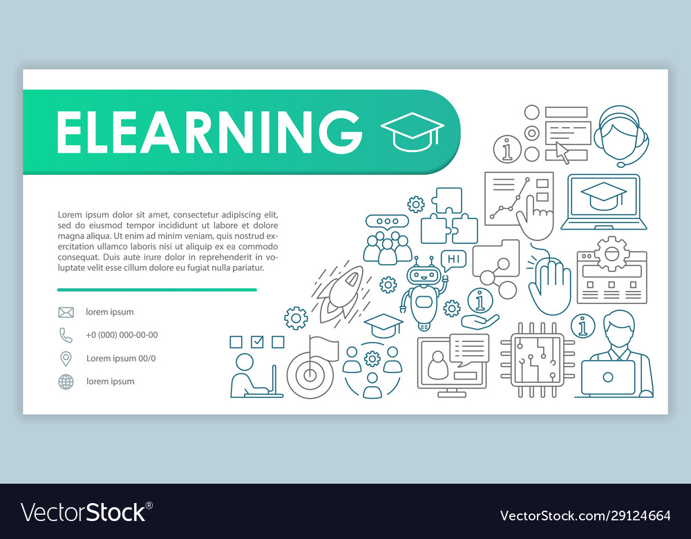 E Learning Banner Business Card Template Online Vector Image