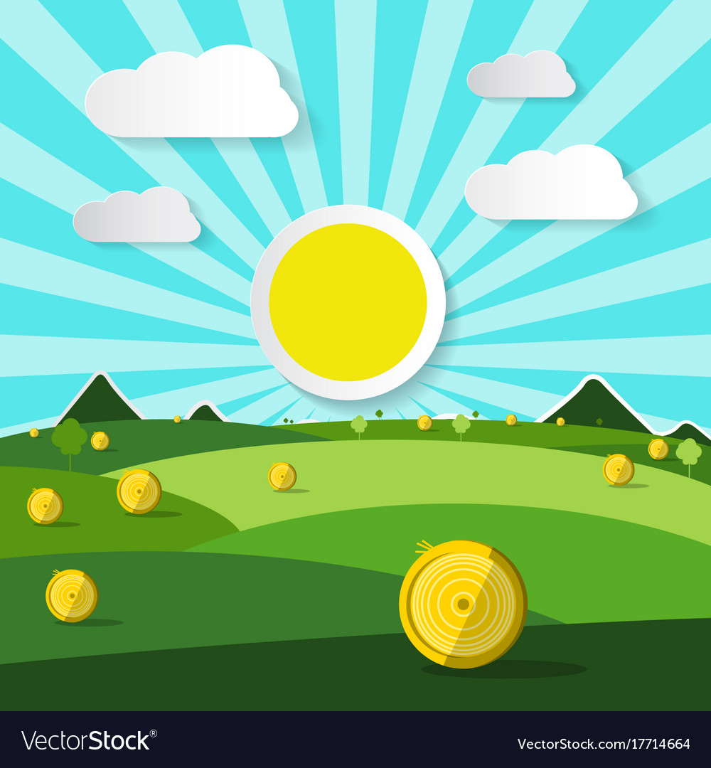 Empty field natural scene with sun and clouds vector image