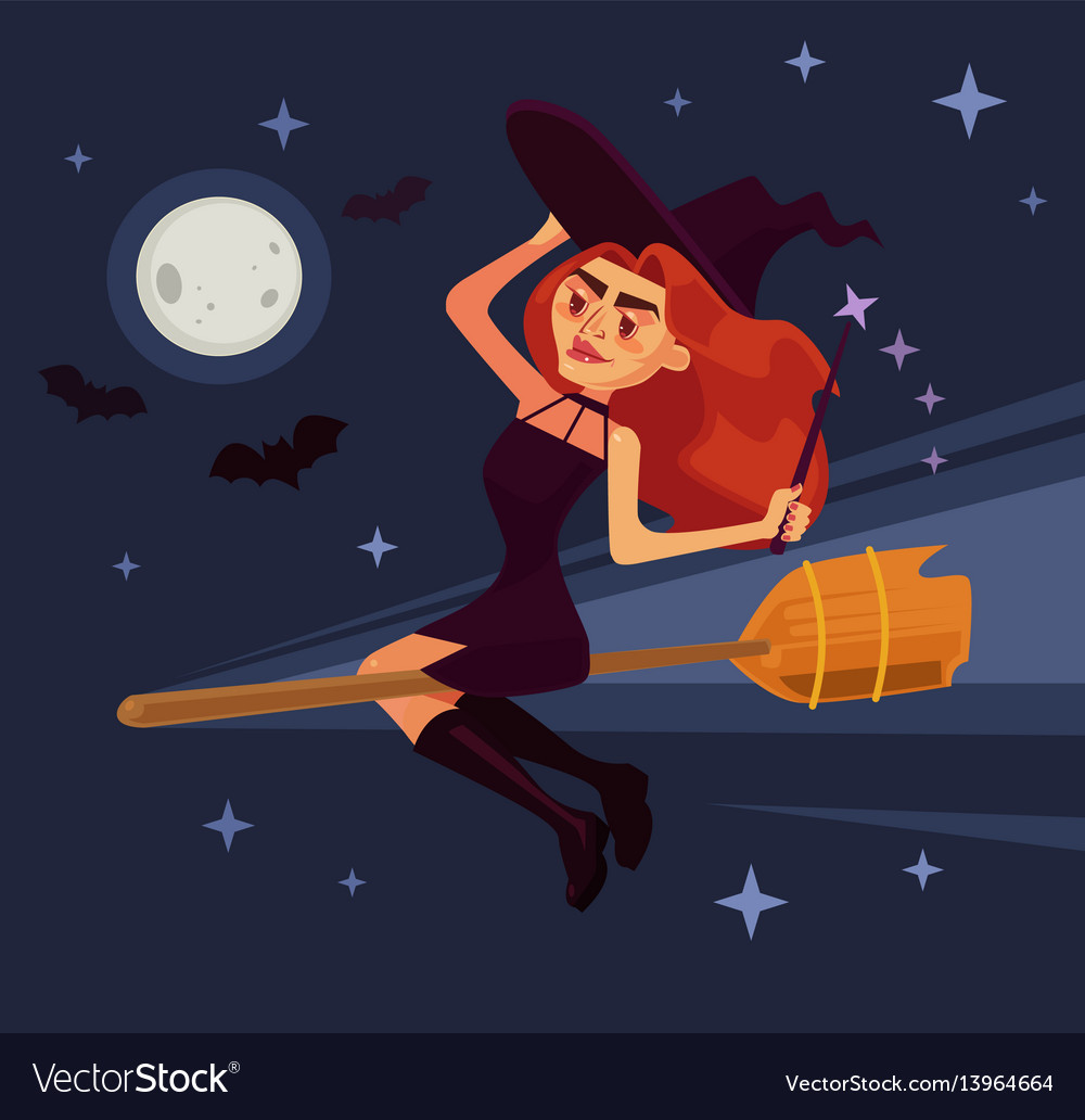 Evil witch woman character flying broom