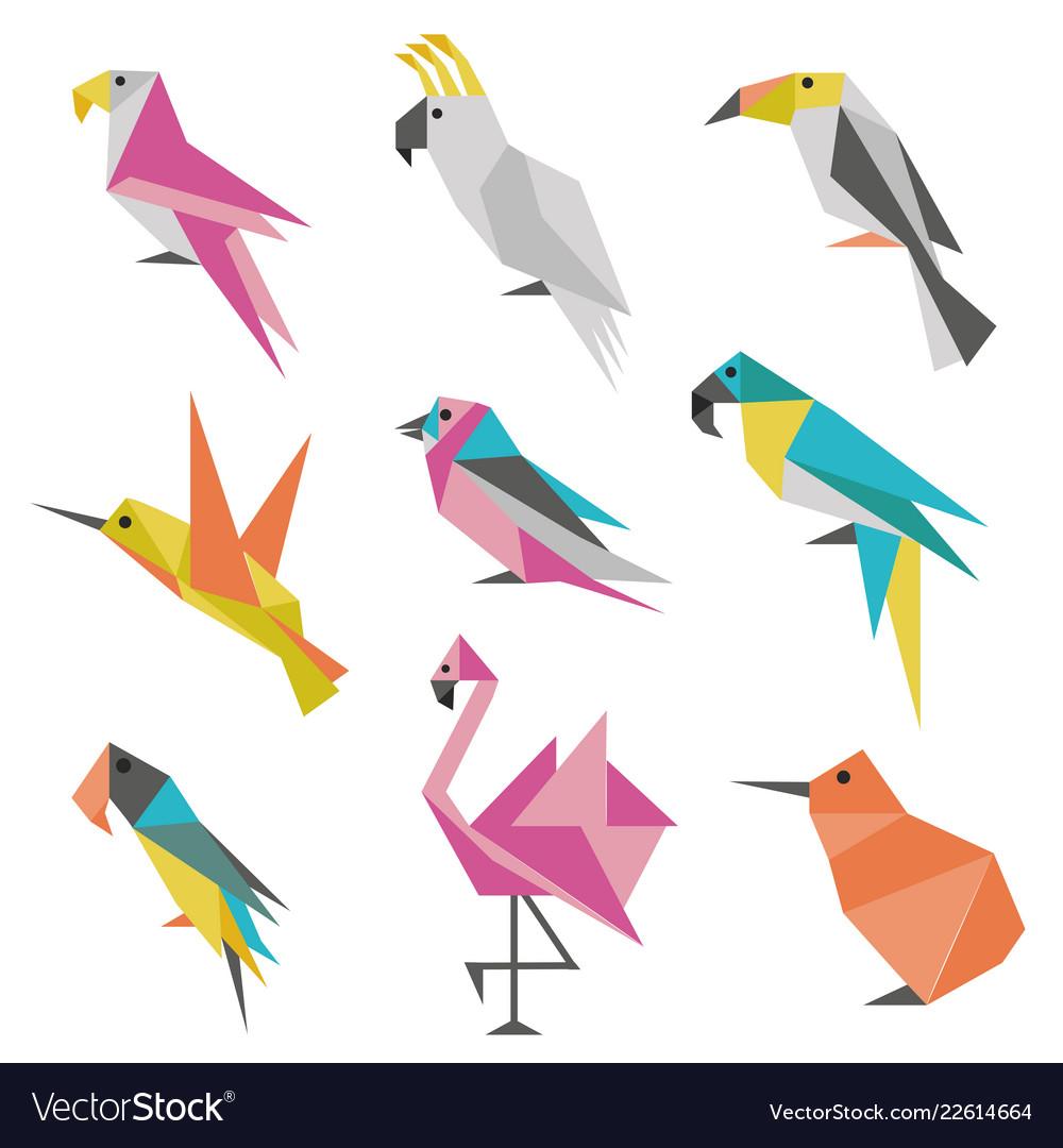 Geometric origami birds icons
