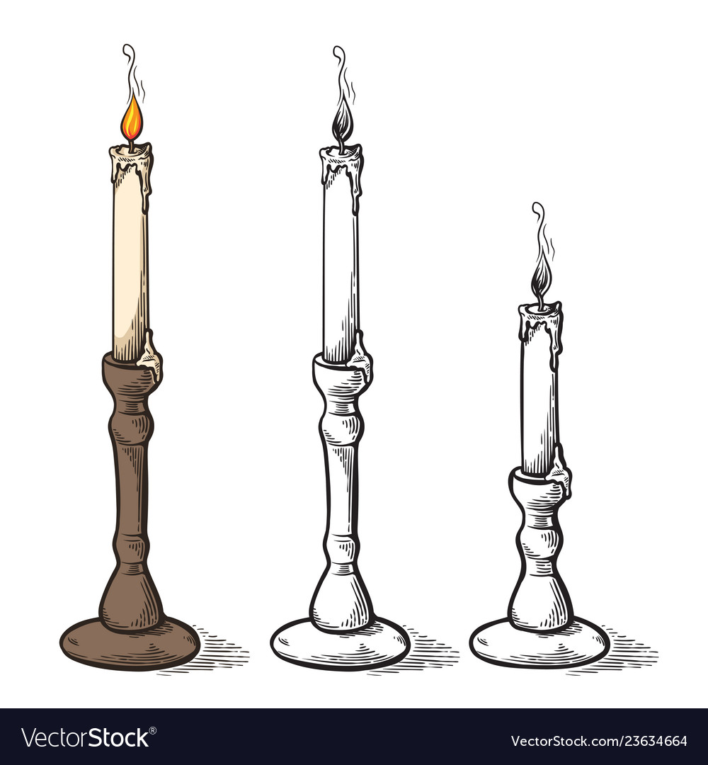 Hand made sketch retro old candle candlestick