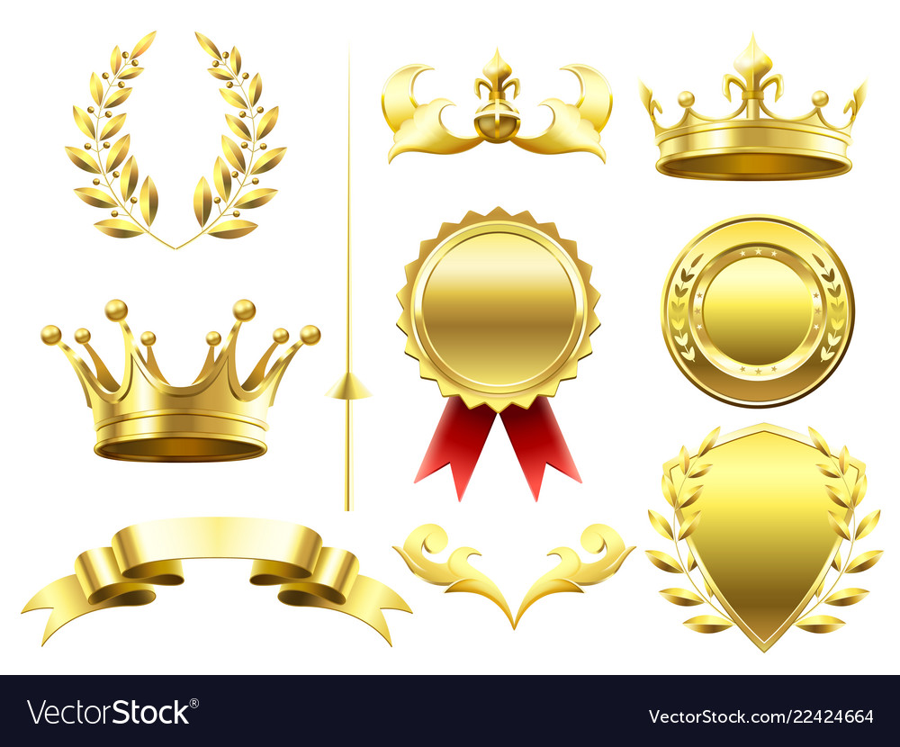 Heraldic 3d elements royal crowns and shields
