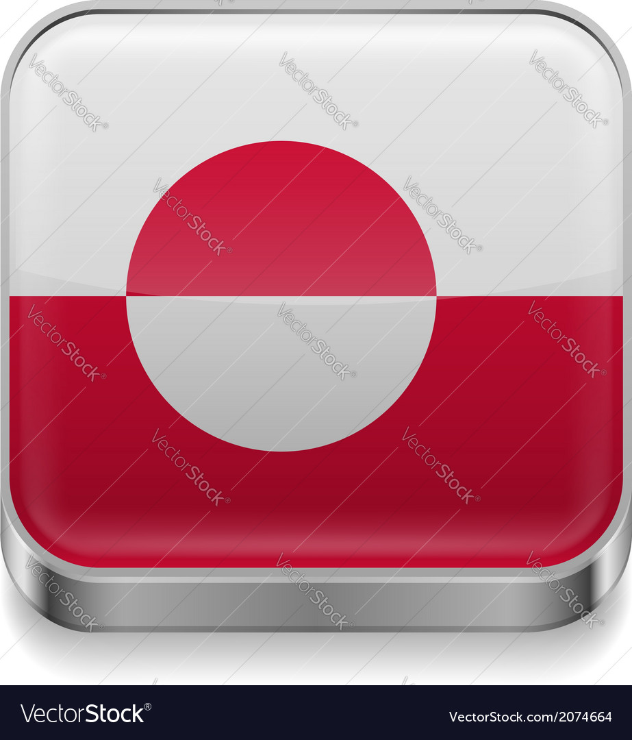 Metal icon of Greenland vector image