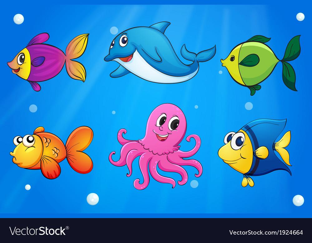 sea creatures under the sea royalty free vector image