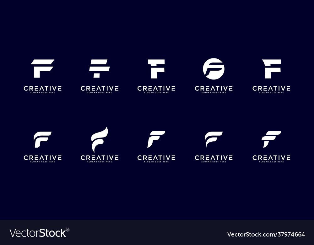 Set initial letter f logo design template