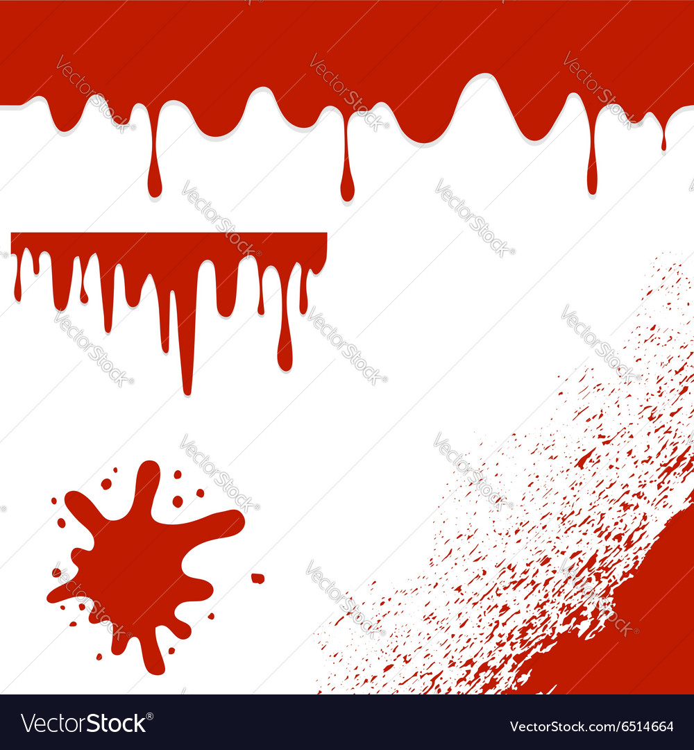 Set of Blood Blots Isolated on White Background vector image