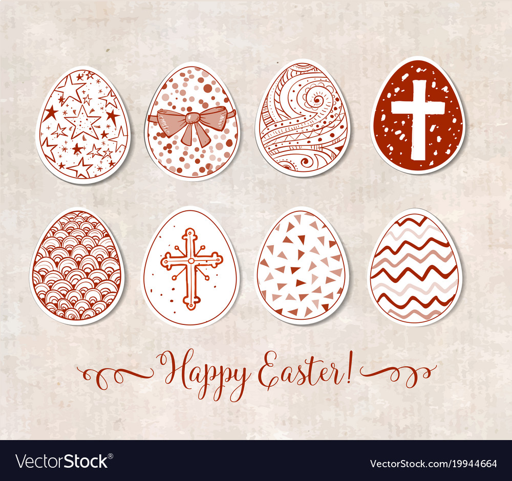 Set of hand-drawn ornated paper-cut easter eggs on