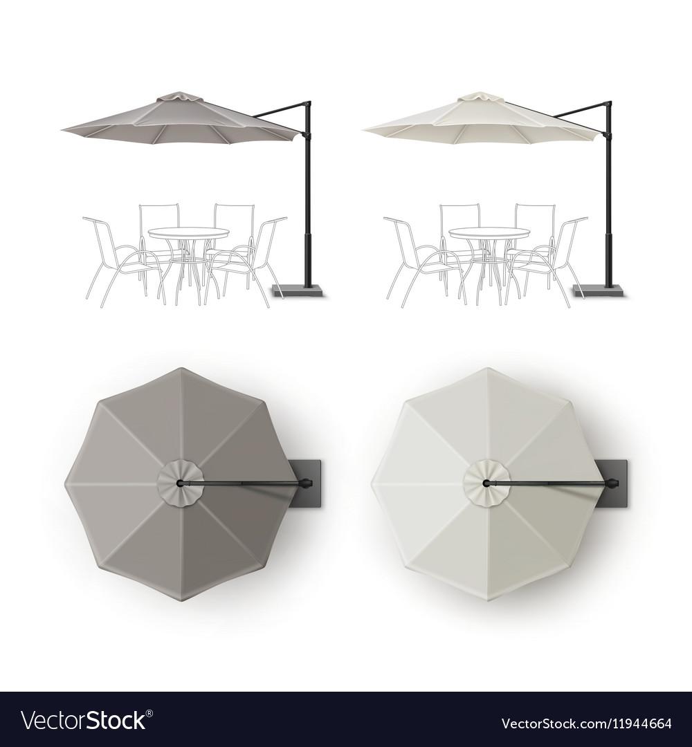 Set Patio Outdoor Restaurant Round Umbrella Vector Image