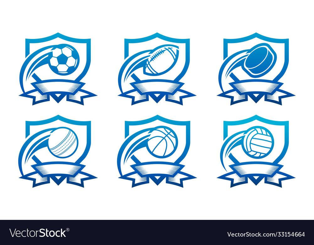 Set various sport emblem icons