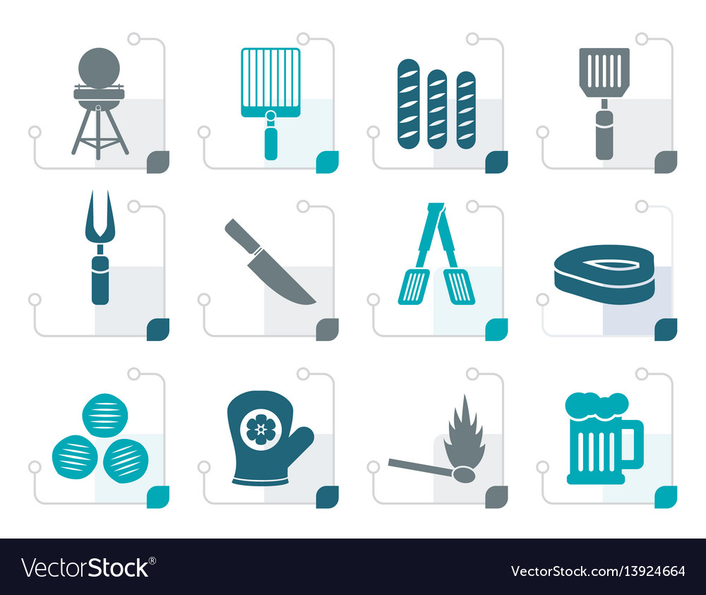 Stylized picnic barbecue and grill icons