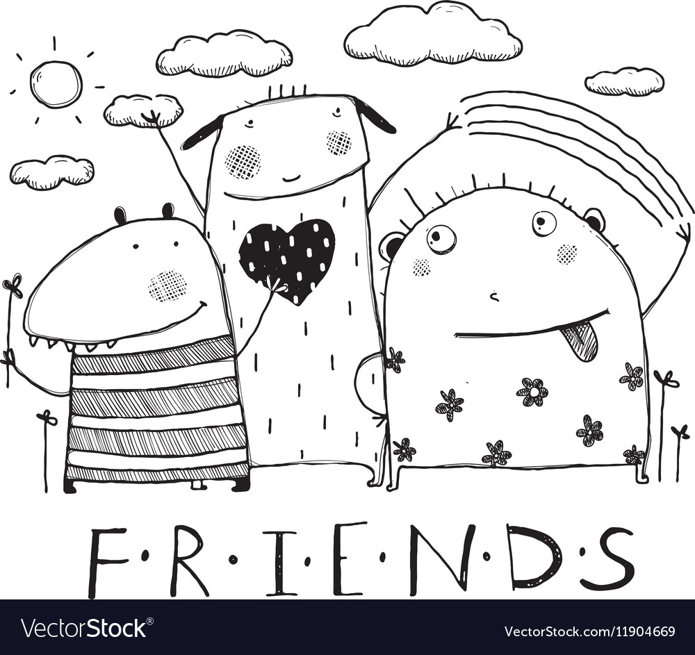Adorable monsters friends outline black and white