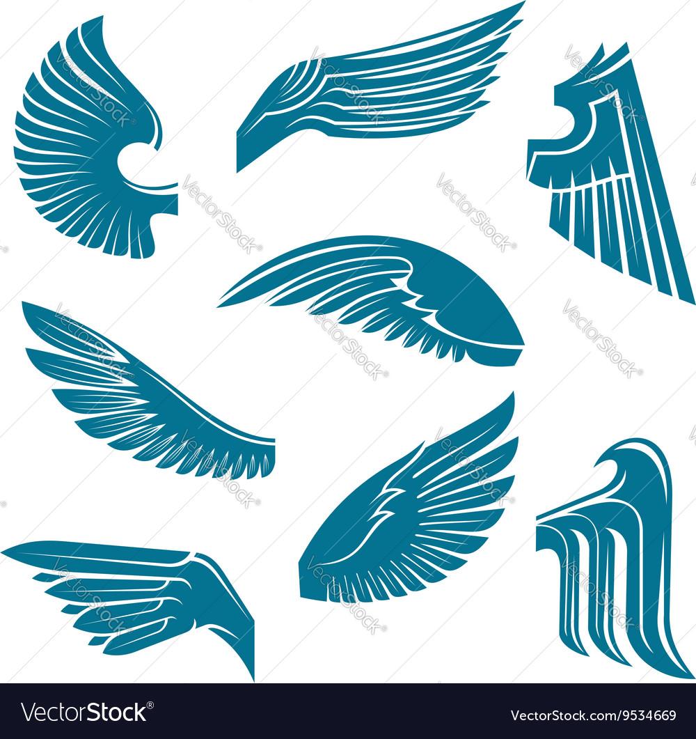 Blue bird wings heraldic design elements vector image