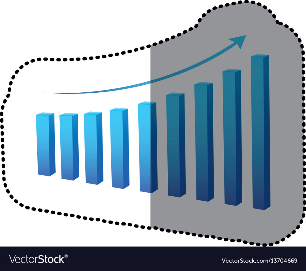 Blue statistic graph business data vector image