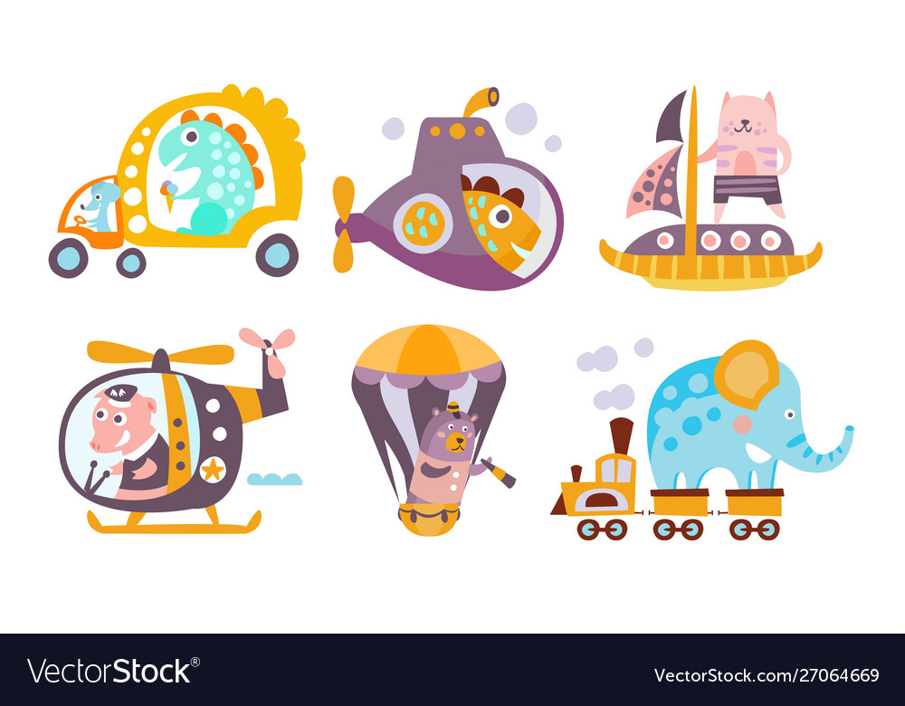 Collection toy transport with cute animals