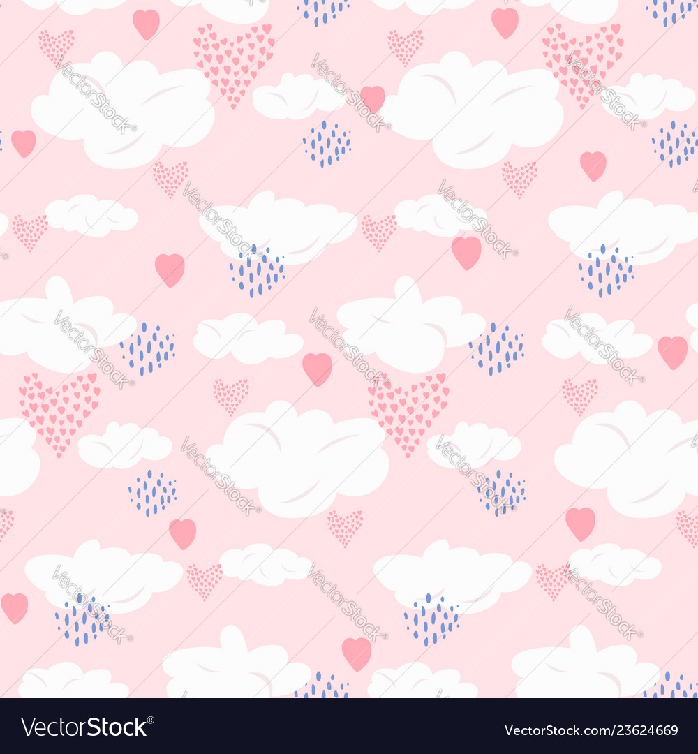 Cute pink seamless pattern with clouds and hearts