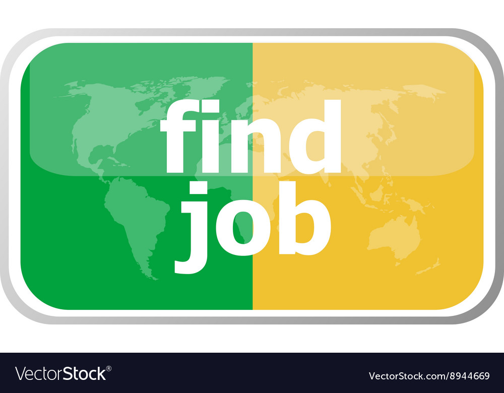 Find job words on web button icon isolated