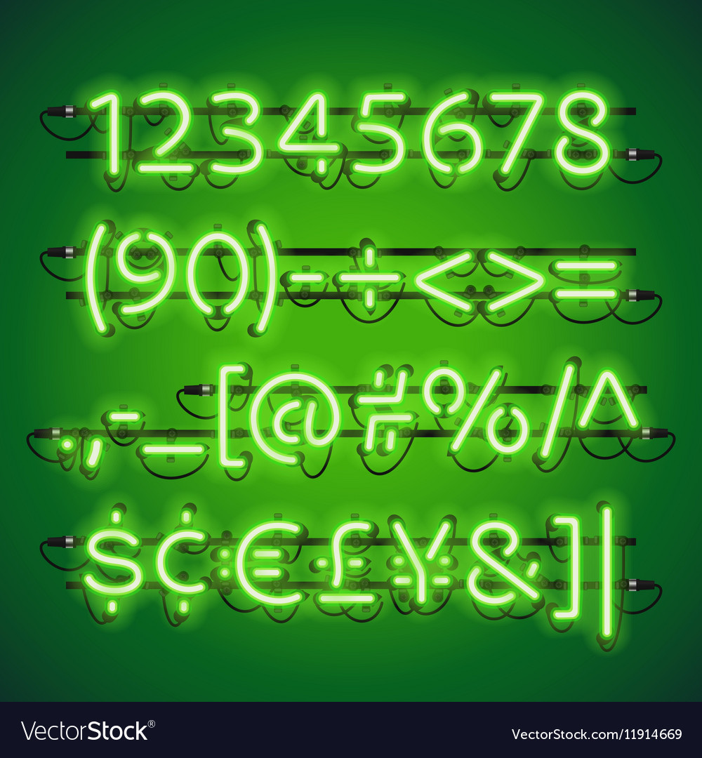 Glowing Neon Lime Green Numbers vector image