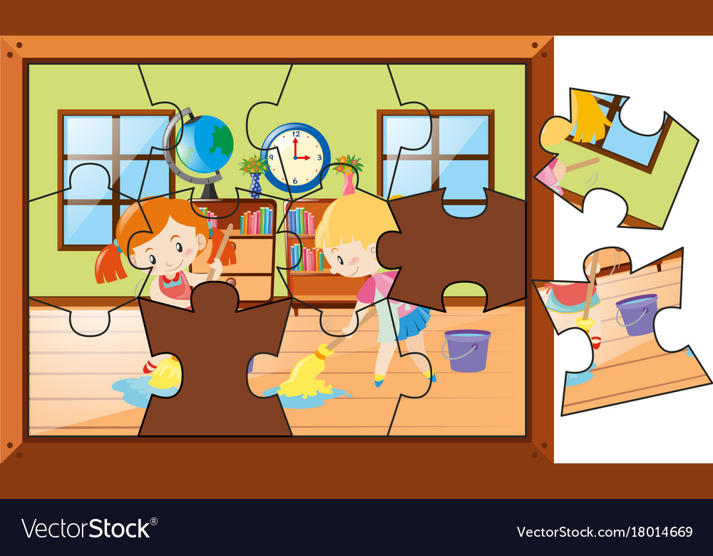 Jigsaw Puzzle With Kids Cleaning House Vector Image