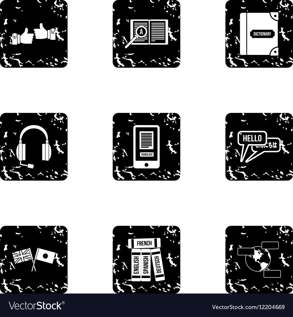 Languages icons set grunge style