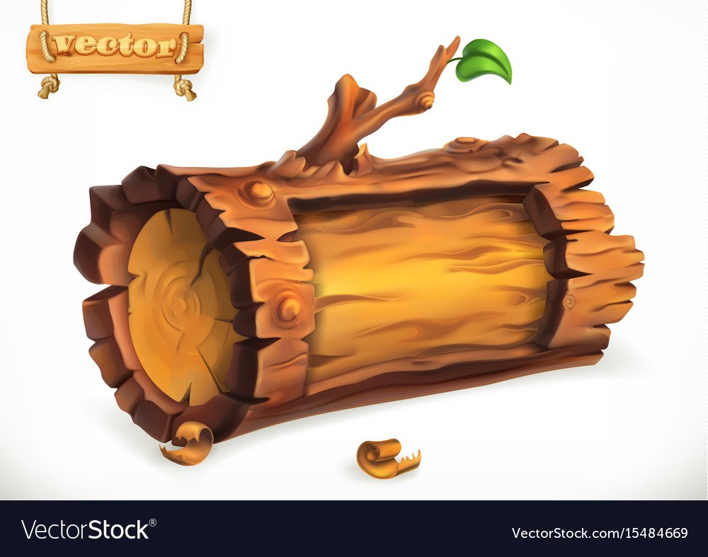 Log wooden sign 3d icon