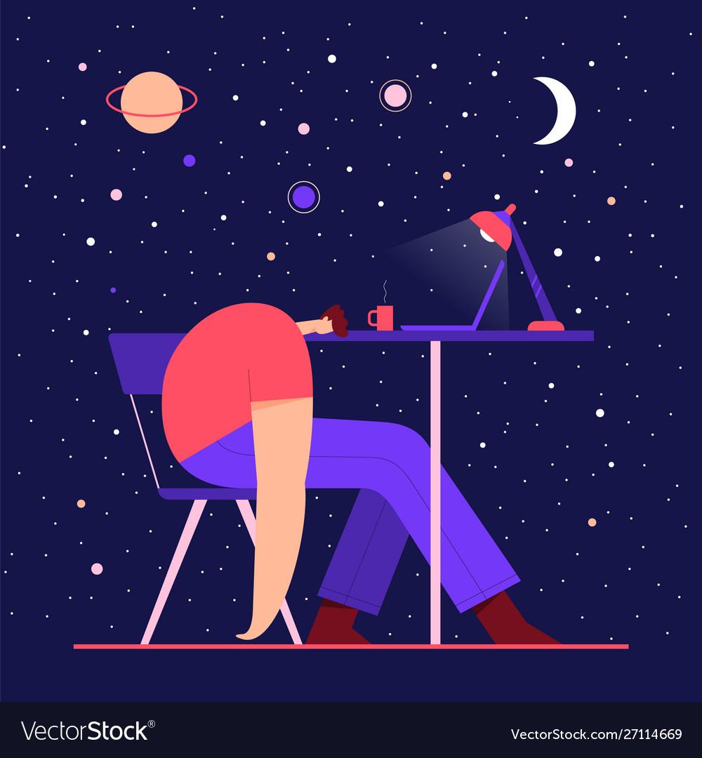 Man sleeping on table tired male modern