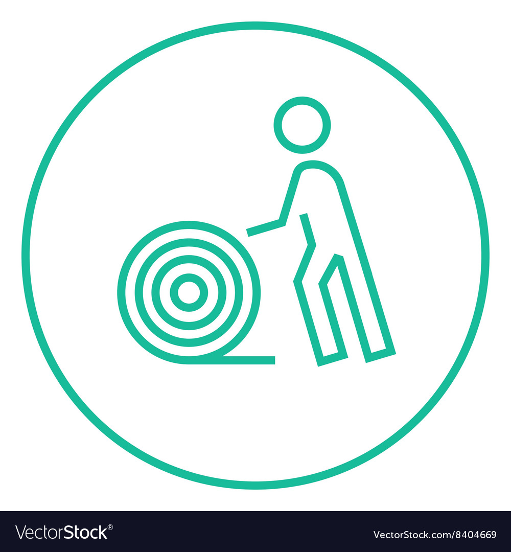 Man with wire spool line icon Royalty Free Vector Image