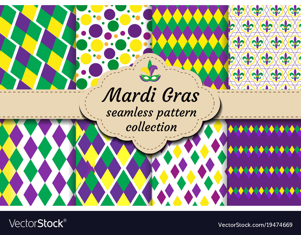 Mardi gras set of abstract geometric pattern