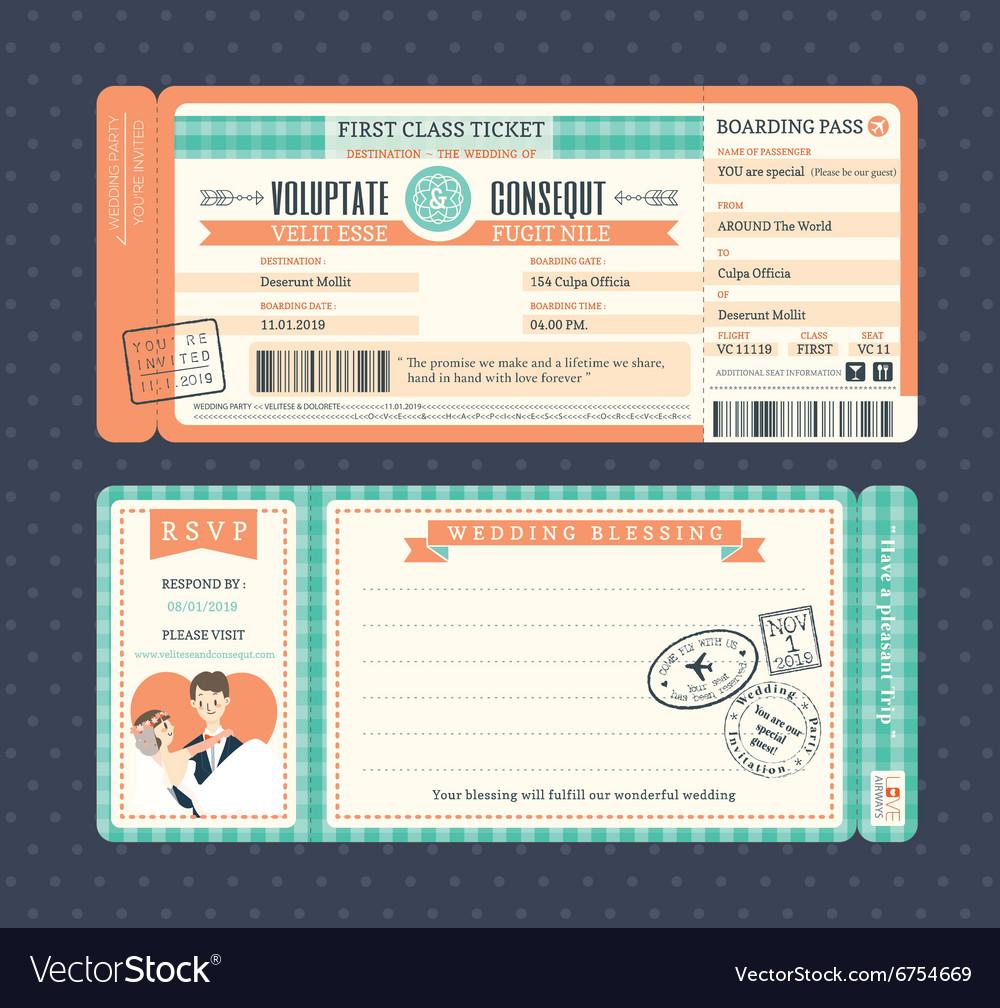 Pastel Retro Boarding Pass Ticket Wedding card