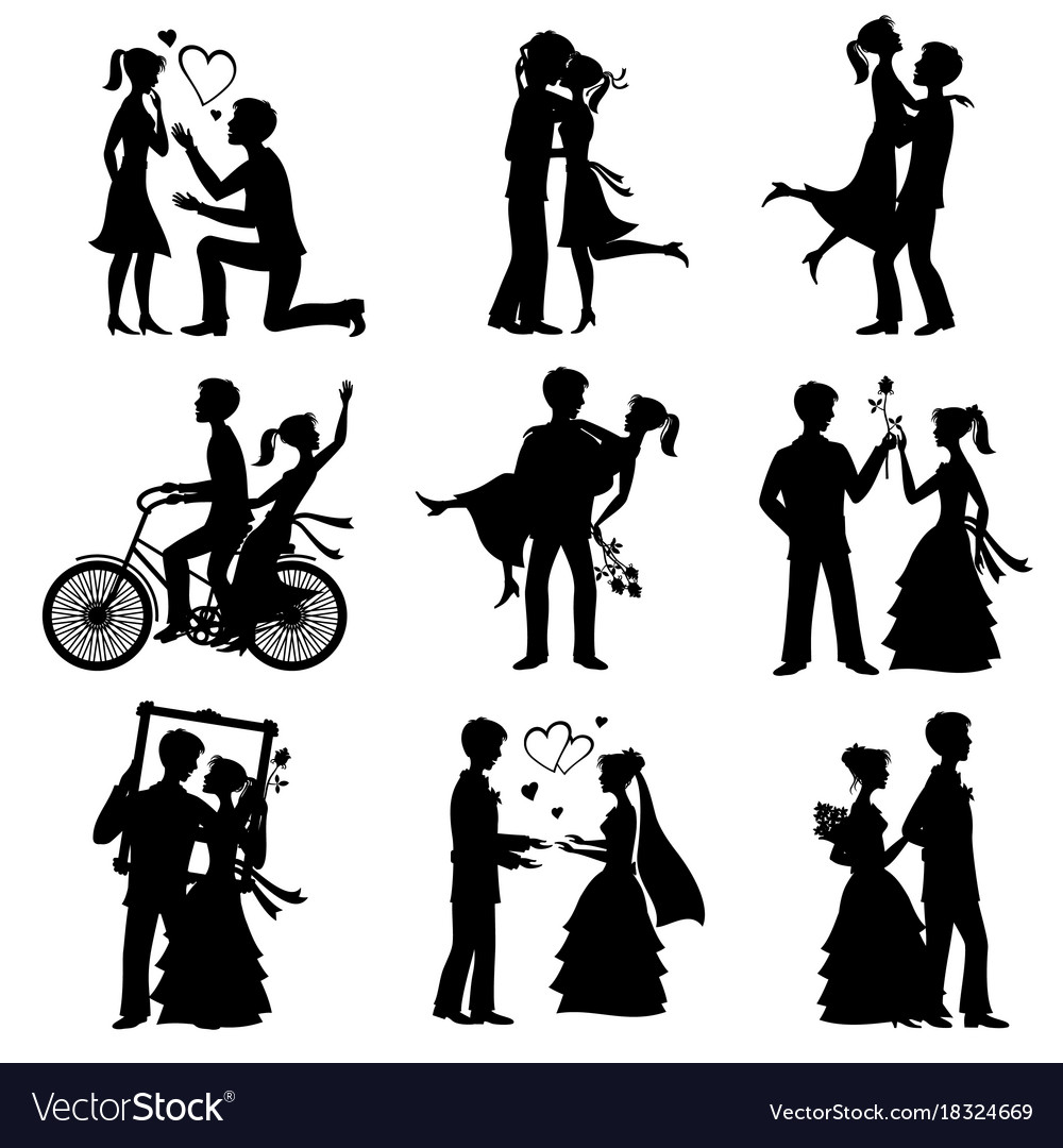 Romantic love couples silhouettes for vector image