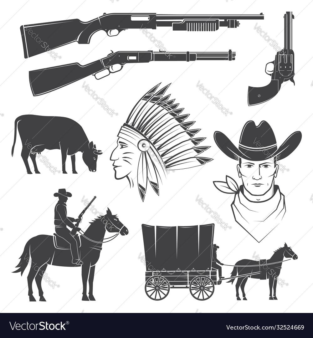 Set cowboy club icon concept for shirt