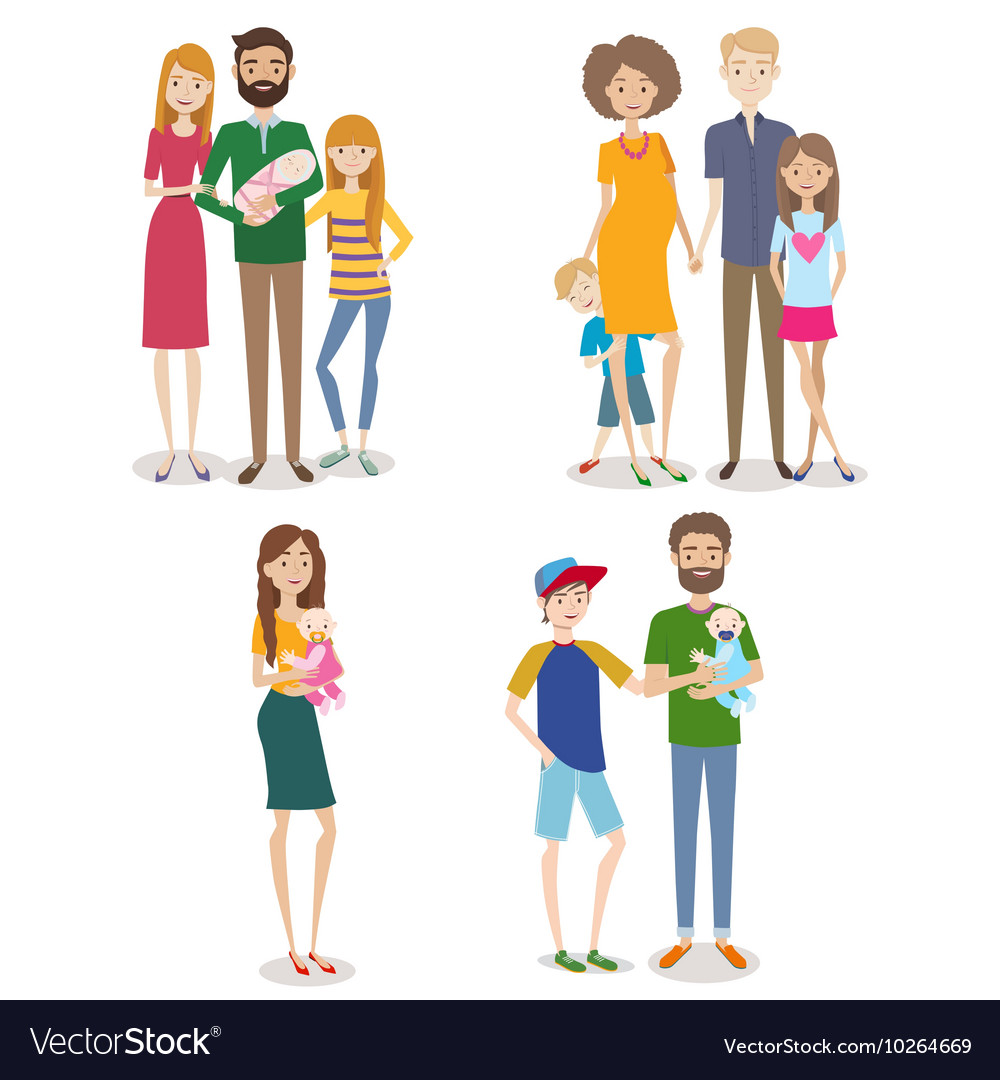 Set of people with family and kids