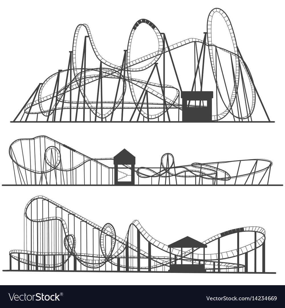 Set of silhouettes roller coaster rollercoaster